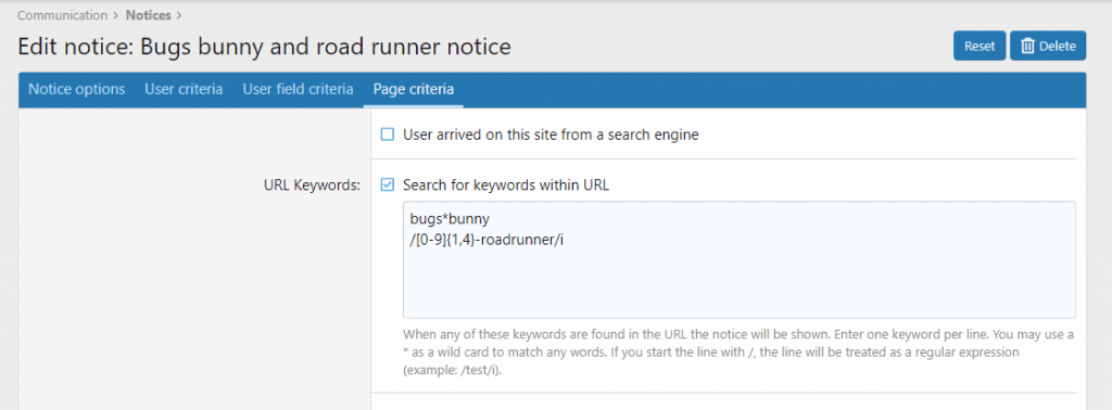 Notice by URL Keyword Options