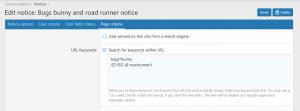 Notice by URL Keyword Options