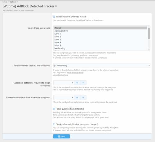 Admin options